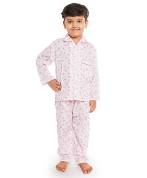 Fuzzy Bear All Over Teddy Bear Printed Full Sleeves Night Suit - White & Pink