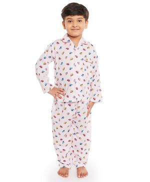 Fuzzy Bear All Over Car Printed Full Sleeves Night Suit - Pink