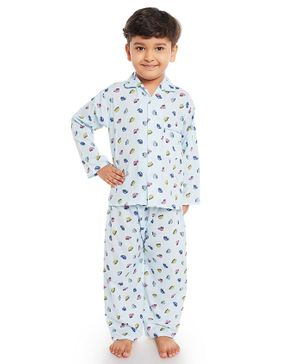 Fuzzy Bear All Over Car Printed Full Sleeves Night Suit - Light Blue