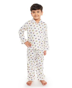 Fuzzy Bear All Over Car Printed Full Sleeves Night Suit - Off White