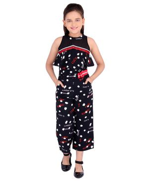 Cutecumber Sleeveless City Name Print Jumpsuit - Black