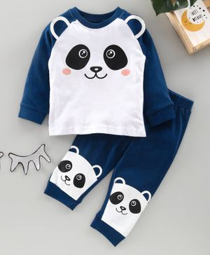 Babyhug Full Sleeves Night Suit Panda Print - Blue White