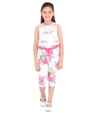 Cutecumber Sleeveless Rose Flower Print Jumpsuit - Cream