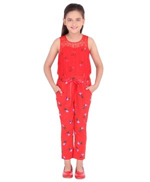 Cutecumber Sleeveless Floral Printed Jumpsuit - Red