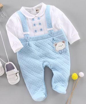 ToffyHouse Full Sleeves Footed Winter Wear Romper Teddy Patch - Light Blue