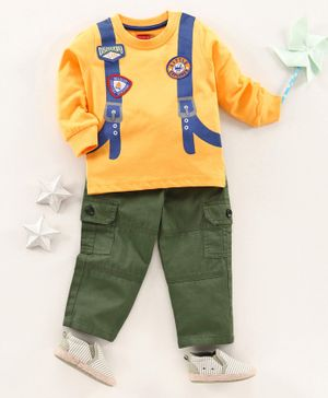 Babyhug Full Sleeve T-Shirt & Pant Set Little Explorer Patch Print  - Yellow Olive