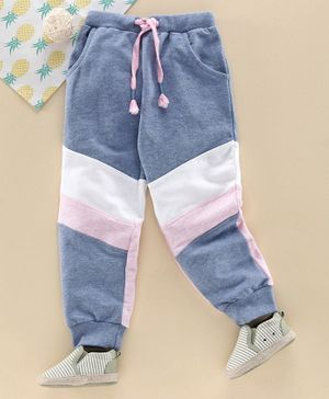 Babyhug Full Length Lounge Pant With Drawstring - Blue White