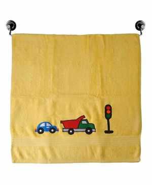 Little Jamun Premium Cotton Bath Towel Car Embroidered - Yellow