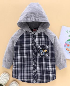 Babyhug Full Sleeves Hooded Checked Shirt - Navy