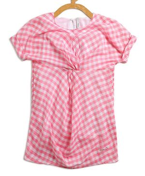 Pepe Jeans Short Sleeves Checked Dress - Pink