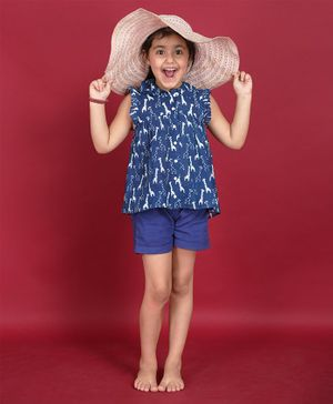 Ikeda Designs Giraffe Block Print Sleeveless Top With Ruffles - Blue