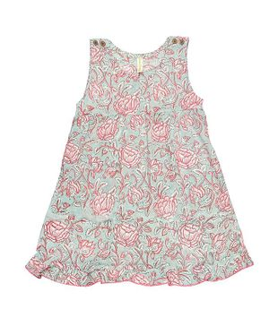 Ikeda Designs Floral Block Print Sleeveless A Line Dress - Pink
