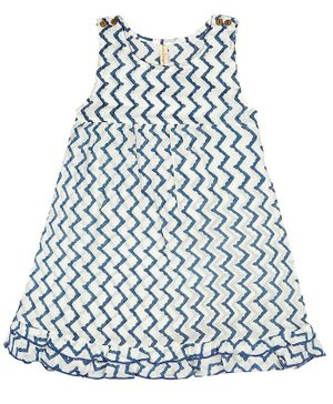 Ikeda Designs Zigzag Block Print Sleeveless A Line Dress With Ruffles - White