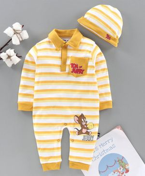 Mom's Love Full Sleeves Striped Romper with Cap Tom & Jerry Print - Yellow