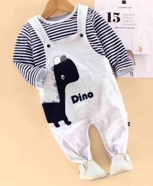 Mom's Love Full Length Dungaree With Inner T-Shirt Dino Patch Print Striped - White Black