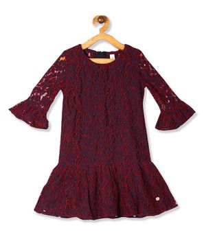 U.S. Polo Assn. Kids Three Fourth Sleeves Lacey Dress - Blue & Maroon