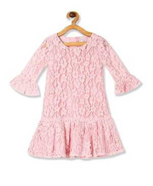 U.S. Polo Assn. Kids Three Fourth Sleeves Lacey Dress - Baby Pink