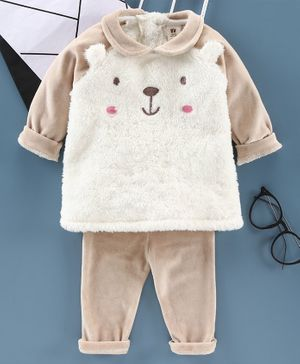 ToffyHouse Raglan Sleeves Winter Wear Suit Bear Embroidery - Beige
