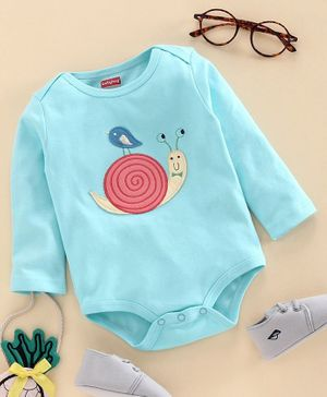 Babyhug 100% Cotton Full Sleeves Onesie Snail Patch - Blue