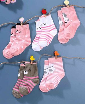 Cute Walk by Babyhug Antibacterial Ankle Length Socks Pack of 5 - Pink Grey