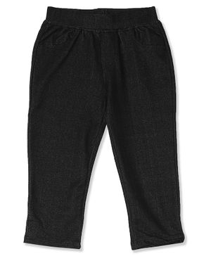 Donut Solid Knit Full Length Jeggings - Black