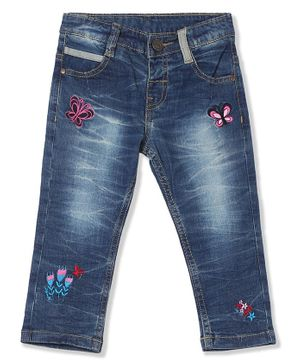 Donut Butterfly Embroidered Full Length Mid Rise Washed Jeans - Blue