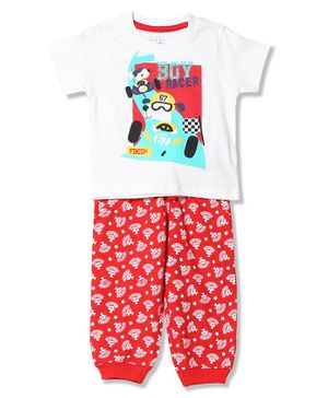 Donut Short Sleeves Boy Racer Print Tee With Printed Pajama - White Red