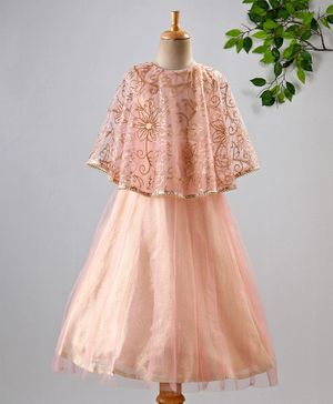 Lil Peacock Sleeveless Flower Sequined Flared Netted Gown - Peach