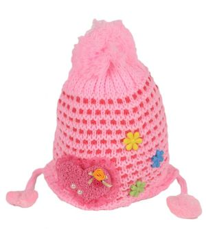 Tiekart Kids Heart Lace Patch Woolen Cap - Light Pink