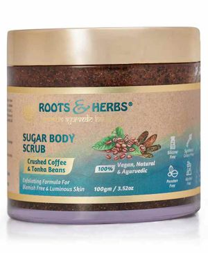 Roots and herbs sugar body scrub (crushed coffee & tonka beans) (100gm)