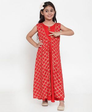 Baani Creations Sleeveless Printed Attached Jacket Dress - Red