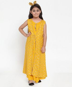 Baani Creations Sleeveless Printed Attached Jacket Dress - Mustard