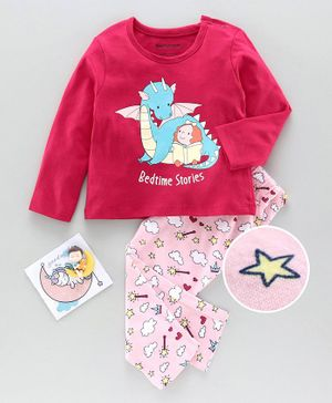 Babyoye Full Sleeves Night Suit Bedtime Stories Print - Pink