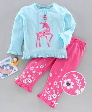 Babyoye Full Sleeves Night Suit Reindeer Print - Blue Pink