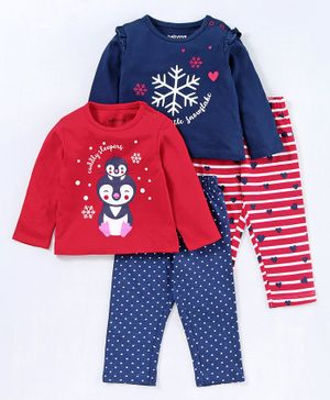 Babyoye Full Sleeves Night Suit Snow Flake Print Pack of 2 - Red Navy Blue