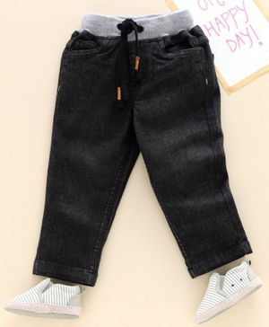 Babyhug Full Length Solid Color Jeans - Grey