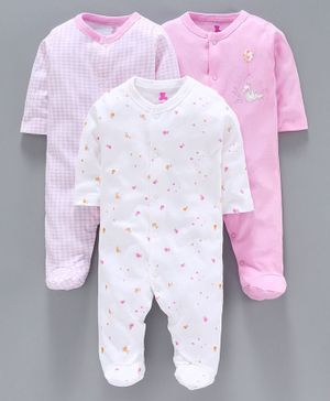 I Bears Full Sleeves Checks & Multi Printed Footed Rompers Set of 3 - Pink White