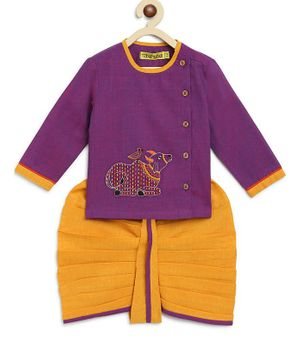 Tiber Taber Full Sleeves Cow Embroidered Kurta With Dhoti - Purple Yellow
