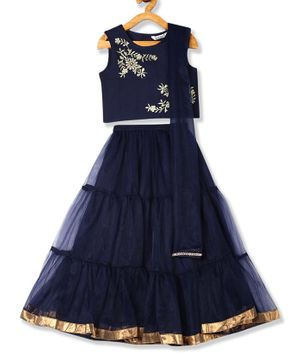 Karigari Sleeveless Flower Embroidery Detailing Choli With Flared Lehenga & Dupatta - Navy Blue