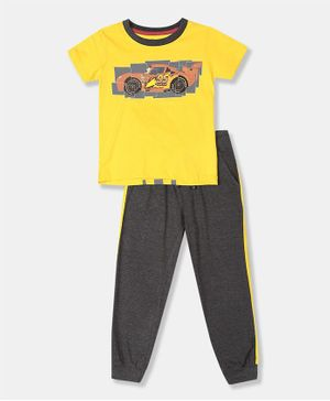 Colt Half Sleeves Disney Car Print Detailing Tee & Track Pants Set - Yellow