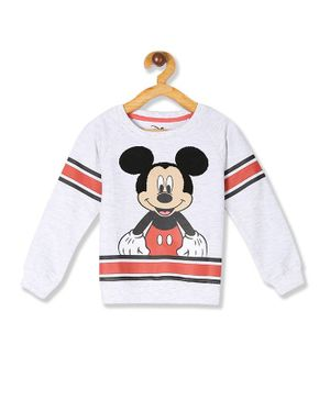 Colt Full Sleeves Mickey Mouse Printed Sweatshirt - Grey