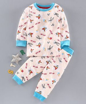 Eteenz Full Sleeves Night Suit Looney Tunes Print - White Peach