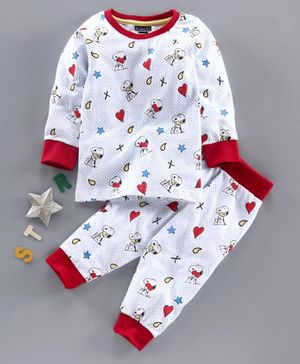Eteenz Full Sleeves Night Suit Snoopy Print - White & Red