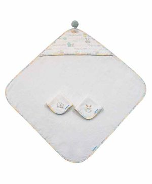 Abracadabra Cotton Terry Hooded Towel With 2 Face Napkins - White