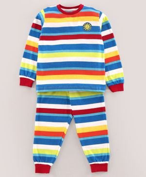 Pine Kids Full Sleeves Biowashed Night Suit Striped - Multicolor