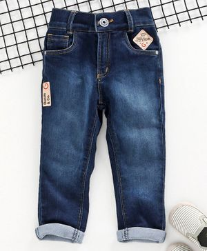 Little Kangaroos Full Length Jeans With Elasticated Waist - Blue