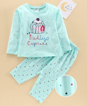 Smarty Full Sleeves Night Suit Cupcake Print - Green
