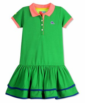 Cherry Crumble By Nitt Hyman Half Sleeves Sporty Polo Ruffled Hem Dress - Green