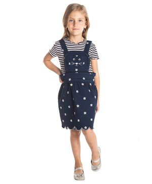 Cherry Crumble By Nitt Hyman Flower Embroidered Sleeveless Dress - Navy Blue