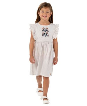 Cherry Crumble By Nitt Hyman Flower Embroidered Sleeveless Dress - Off White